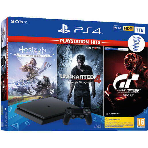 Sony Play Station PS4 Black 1TB + Horizon Ed. + Uncharted 4 + GT Sport HITS WIFI