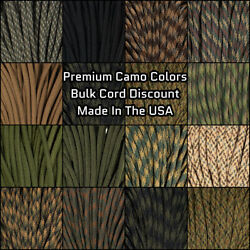 Paracord Planet 550 Paracord Camo Colors - 10-25-50-100 Ft Options - Made In USA