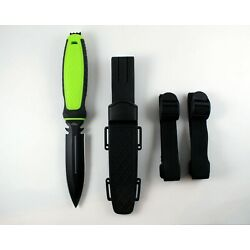 Scuba Diver Knife Sheath Dive Leg and Arm Straps Stainless Steel Green