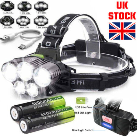 img-350000LM Headlamp Rechargeable Headlight 18650 Flashlight 5X T6 LED Head Torch √