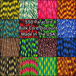 West Coast Paracord - 550 Paracord - Multicolor Styles - 100 Feet - USA Made