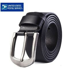 Kyпить Mens Genuine Leather Belt Belts With Classic Silver Buckle Brown Black US STOCK на еВаy.соm