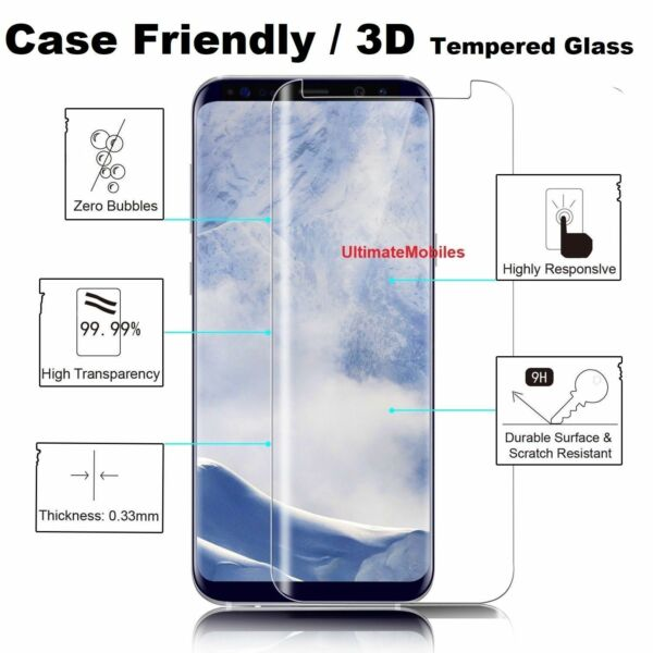 Tempered Glass Screen Protector CLR New 3D Samsung Galaxy S8 PLUS 100% Genuine