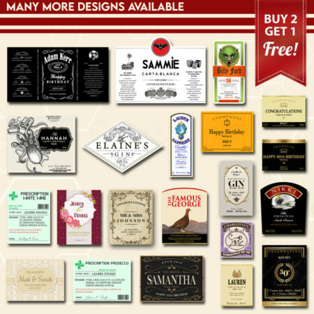 img-Personalised Custom Bottle Labels - Many Designs Available For Any Occasion!`