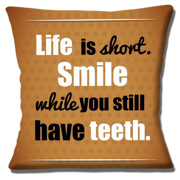 Royaume-UniNeuf Drôle Message Sourire While You Still Ont Dents 40.6cm Housse Coussin