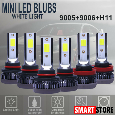 9005 9006 H11 Combo COB LED Headlight Fog Lamp Bulb White 6000K High Low Beam US