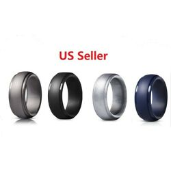 Kyпить 4 Pack Silicone Wedding Engagement Ring Men Women Rubber Band Gym Sports SHIP US на еВаy.соm