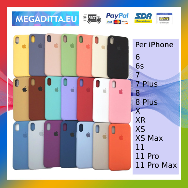 Cover Custodia In Silicone Originale Soft Per Apple iPhone 6 6s 7 8 X Xs 11 Max