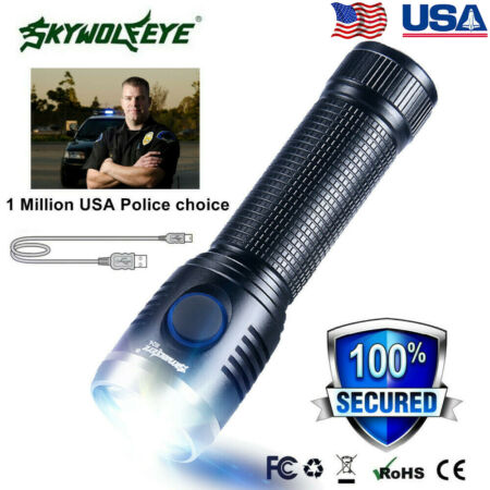 img-USB Rechargeable Tactical Zoomable LED Flashlight 3 Modes 18650 Torch Lamp UK