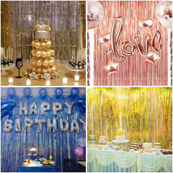 Kyпить Metallic Foil Fringe Curtain Tinsel Photo Backdrop Party Birthday Decor 3.2*9.8F на еВаy.соm