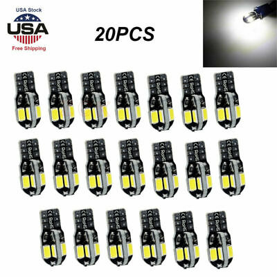 20Pcs Canbus T10 194 168 W5W 5730 8 LED SMD Car Side Wedge Lights Lamp White USA