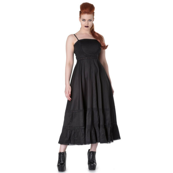 Royaume-UniHell Bunny Spin Doctor Elizabella Steampunk  Noir Witch Wicca Robe Maxi