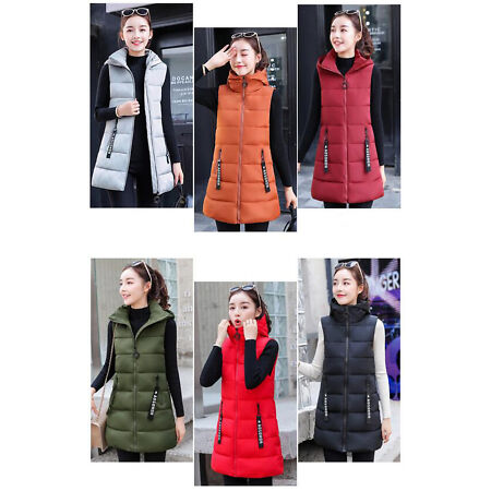 img-New Women Down Vest Quilted Jacket Sleeveless Hooded Coat Long Waistcoat Winter