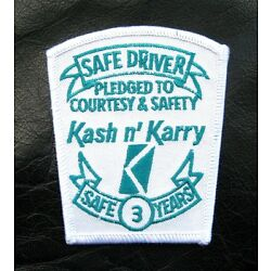 KASH KARRY EMBROIDERED SEW ON PATCH SAFE DRIVER SAFE 3 YEARS TRUCKING 3'' x 3 1/2