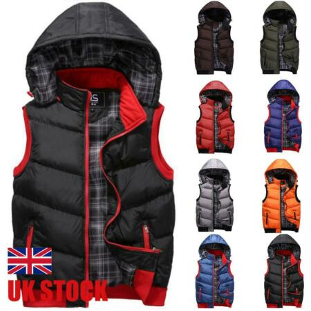 img-Mens Sleeveless Bubble Quilted Jackets Waistcoat Vest Hooded Winter Warm Parkas