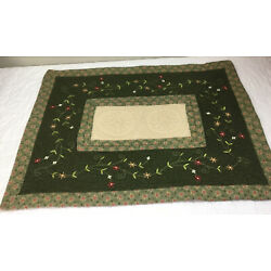 Kyпить Patchwork Quilt Wall Hanging, Rectangle Logs With Floral Embroidery, Dark Green на еВаy.соm