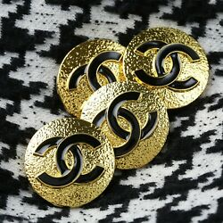 Kyпить Chanel Button 4pc CC Black & Gold 23mm Vintage Style STAMPED 4 Buttons AUTH!! на еВаy.соm