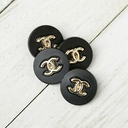 Kyпить  Chanel Buttons 4pc CC Black Gold 20mm Vintage Style Unstamped AUTH!!! на еВаy.соm