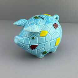 Kyпить Vtg Ceramic Blue Patchwork Piggy Bank  на еВаy.соm