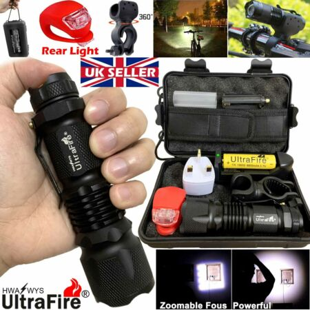 img-90000LM Zoom Tactical Military CREE T6 LED Flashlight Torch Bike Light *