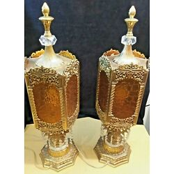 Kyпить Vintage Pair Table Lamps Brass Crystal Prisms Gold Hollywood Regency Lights на еВаy.соm