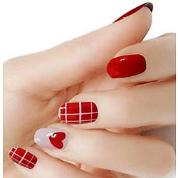 Kyпить Red Hearts on pink color real nail polish strips KC311 street art wraps на еВаy.соm