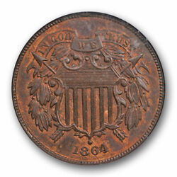 Kyпить 1864 2C Two Cent Large Motto NGC MS 64 RB Uncirculated Red Brown US Type Coin... на еВаy.соm