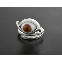 Kyпить Vintage Signed Orvelo Taxco Mexico 925 Sterling Silver RARE Brown Glass Eye Ring на еВаy.соm