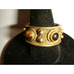 Kyпить Beautiful Unsigned Gold Plated Silver RING w/Tiger Eye Stones - Size 7.5-8 на еВаy.соm