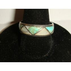 Kyпить Unsigned Sterling Silver RING w/Mother of Pearl and Turquoise ? - Size 8.5 на еВаy.соm