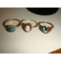 Kyпить Three Small Unsigned Sterling Silver Ladies Rings w/Turquoise and Other Stones на еВаy.соm