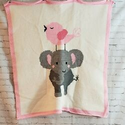 Kyпить Hand Made Knitted Baby Blanket Elephant Bird White Pink на еВаy.соm