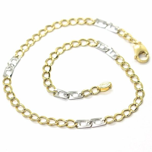 Italien Yellow and White Gold 18K 750, Curb And Double Squares, 3 MM