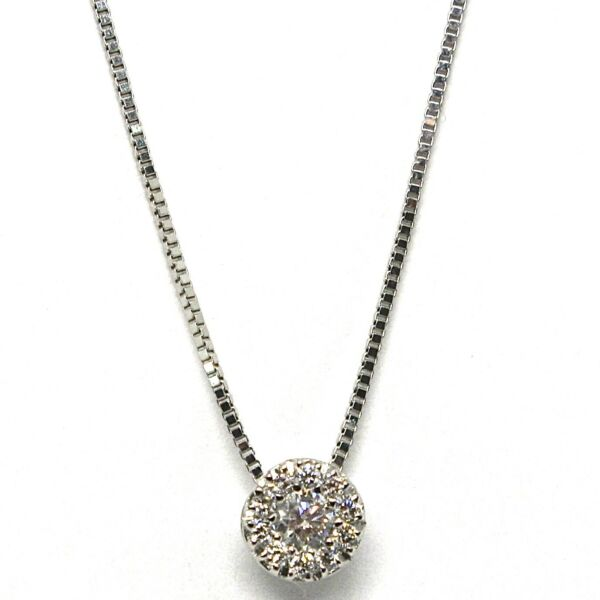 ItalienNecklace With White Gold Pendant 750 18K, Central And Frame, Diamonds, Flower