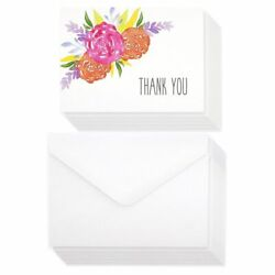 120 Pcs Thank You Cards Bulk Set, Watercolor Floral Blank Cards with Envelopes