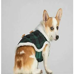 Bee & Willow Home Plaid Sherpa Medium Dog Coat in Blue