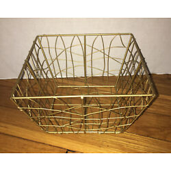NEW Gold Basket.  Candy, Decor, Gift, Soaps, Unique Wire From Avon 2009