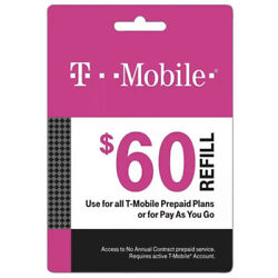 Kyпить T-Mobile $60 Prepaid Refill Card, Air Time Top-Up/Pin (SAME DAY DIRECT REFILL ) на еВаy.соm