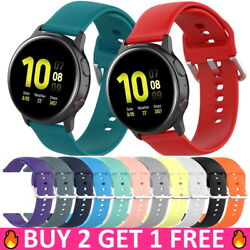 For Samsung Galaxy Watch 3 41mm Active 2 40mm 44mm Silicone 20mm Band Strap