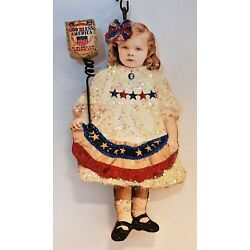 Kyпить GIRL w AMERICAN FLAG BUNTING, STARS * Glitter JULY PATRIOTIC ORNAMENT * Vtg Img на еВаy.соm