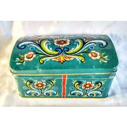 Kyпить Vintage Blue Floral Tin Container w/ Hinged Lid ~ Made In Denmark на еВаy.соm
