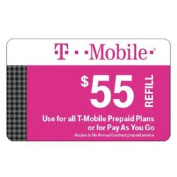 Kyпить T-Mobile $55 Prepaid Refill Card, Air Time Top-Up/Pin (SAME DAY DIRECT REFILL ) на еВаy.соm