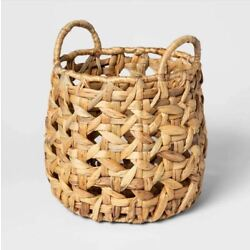 Threshold Decorative Cane Pattern 8 Sided Open Weave Basket Natural - New