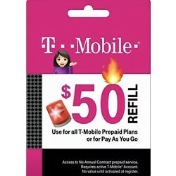 Kyпить T-Mobile $50 Prepaid Refill Card, Air Time Top-Up/Pin (SAME DAY DIRECT REFILL ) на еВаy.соm