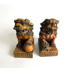 Kyпить Vintage Pair Heavy Sculpted Brown Soapstone Chinese Food Dogs Book Ends 5 1/2