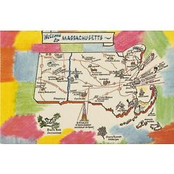 Kyпить Vintage Unposted Postcard Chrome Welcome To Massachusetts на еВаy.соm