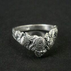 Kyпить Ring Silver V Shape Roses Flowers with Leaves Sterling 925 Size 7.25 Ring Band  на еВаy.соm