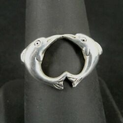Kyпить Ring Silver Dolphins Two in Heart Shape Design Sterling 925 Size 8 Band Ring  на еВаy.соm