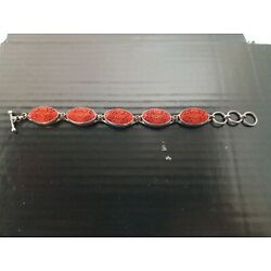 Kyпить AUTHENTIC SAJEN JEWELRY sterling silver RED CINNABAR BIG LINK BRACELET see all! на еВаy.соm