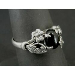 Kyпить Ring Silver Black Onyx Stone with Flowers Leaves Band Sterling 925 Size 7 Ring  на еВаy.соm